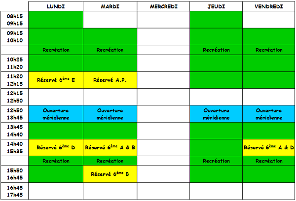 Horaires CDI 2015-2016
